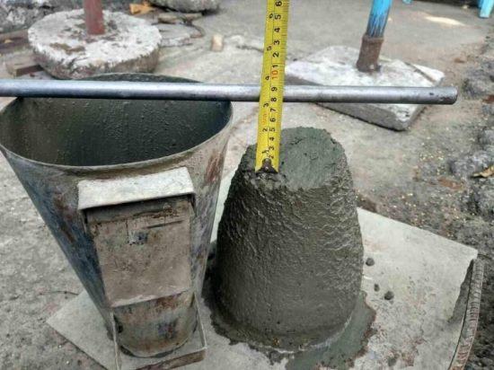 Проверка показателя подвижности бетона